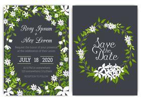Bröllop inbjudningskort Blommigt handdramad ram.