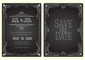 Vektor uppsättning inbjudningskort med element Bröllopsamling.