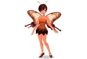 Gullig fjäril fe vektor illustration