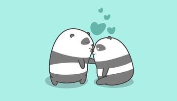 Panda kysser panda i tecknad stil. vektor