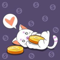 Katze und Münzen im Cartoon-Stil.
