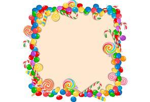 bunter Süßigkeitsrahmen auf weißem Hintergrund