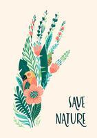 Spara naturen. Jordens dag. Vektor mall, designelement