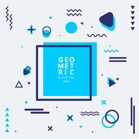 Abstrakte blaue geometrische Formzusammensetzung mit Linien und gewellter flacher Art auf weißem Hintergrund.