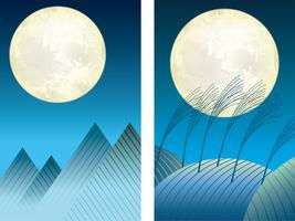 Set av berg och kullar bakgrunds illustrationer under fullmåne. vektor