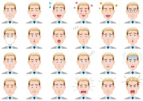 Verschiedene Gesichtsausdrücke des Geschäftsmannes eingestellt. Vektorzeichen getrennt auf einem weißen Hintergrund.