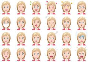 Affärskvinna olika ansiktsuttryck uppsättning. vektor