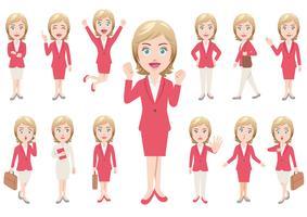 Geschäftsfrau in den verschiedenen Haltungen lokalisiert auf weißem Hintergrund. vektor
