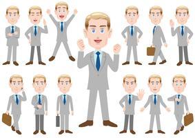 Geschäftsmann in den verschiedenen Haltungen lokalisiert auf weißem Hintergrund. vektor