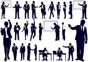 Sats av affärsmän i action silhuetter.