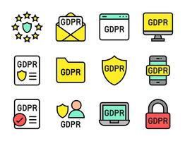 GDPR General Data Protection Regulation-Symbolsatz, ausgefüllter Stil vektor