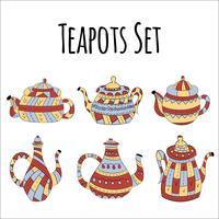 Vektorsatz Teekannen in der skandinavischen Art. Isolierte Objekte