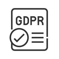 GDPR General Data Protection Regulation-Symbol, Linienart vektor