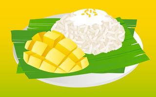 Mango klibbigt ris, thailändsk mat vektor illustration