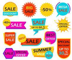 Satz Verkaufsfahnengestaltungselement etikettiert - Vector Illustration