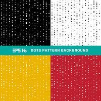 Satz abstrakte geometrische Punktmusterkreise der gelegentlichen Größe auf weißem, schwarzem, gelbem, rotem Hintergrund.