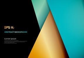 Modernes Schablonenblau, Goldfarbgeometrische Deckschicht auf schwarzem Raum für Hintergrunddesign.