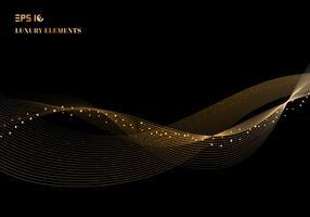 Funkelndes Wellengestaltungselement der abstrakten glänzenden Farbe Goldmit Funkelneffekt auf Luxuskonzept des dunklen Hintergrundes