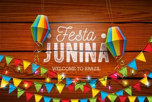 Festa Junina Illustration mit Parteiflaggen und Papierlaterne auf Weinlese-Holz-Hintergrund. Vektor Brasilien Juni Festival Design