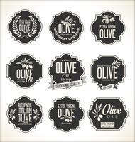 Retro- Aufklebersammlung des Olivenöls vektor