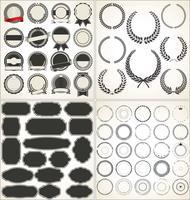 Sats med tomma retro vintage ramar laureller märken och frimärken vektor