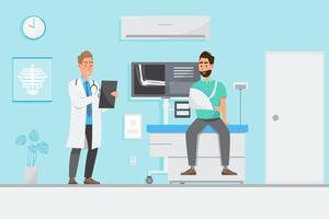 Medizinisches Konzept mit Doktor und Patienten in der flachen Karikatur auf Krankenhaushalle