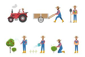 glücklich Bauer Cartoon in vielen Zeichen festgelegt