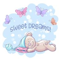 Vykort söt sovande björn och fjärilar. Tecknad stil. Vektor