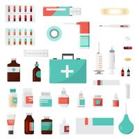 Set av medicinflaskor, droger och piller, apotek, apotek