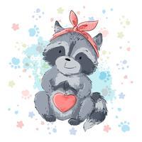 Vykort söt tvättbjörn med hjärta. Tecknad stil vektor