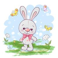 Niedliche kleine Hasenblumen und -schmetterlinge der Illustrationspostkarte. Druck auf Kleidung und Kinderzimmer