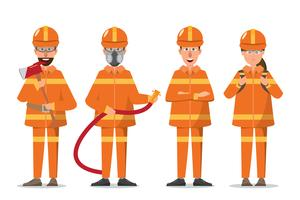 Feuerwehrmann oder Feuerwehrmann und Frau in Uniform vektor