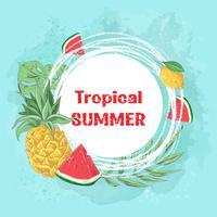 Plakatcocktaileis und tropische Früchte. Vektor-illustration