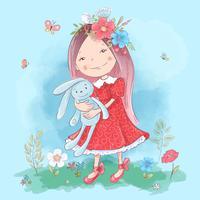 Illustration eines netten Karikaturmädchens mit einem Spielzeug auf einem blauen Hintergrund. Vektor