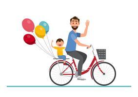 Glückliche Familie. Vater und Junge, die zusammen auf ein Fahrrad fahren