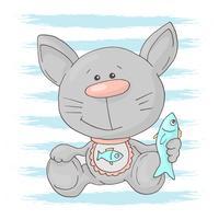 Vykort söt kattunge med fisk. Tecknad stil vektor