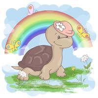 Vykort söta sköldpadda blommor och fjärilar på en regnbågebakgrund. Tecknad stil