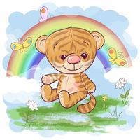Vykort söt tigerunge på regnbågens bakgrund. Tecknad stil vektor
