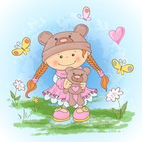Vykorttryck med en söt tjej i en kostym av björnar med en leksak. Tecknad stil.