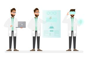 medizinisches Konzept. Wissenschaftler mit Technologie in einem Labor vektor