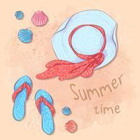 Postkartendruck-Strandsommerfest mit einem Hut und Schiefern auf dem Sand durch das Meer. Hand-Zeichenstil.