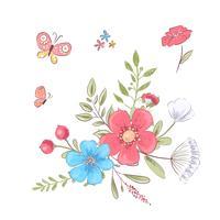 Set von Wildblumen und Schmetterlingen. Handzeichnung. Vektor-illustration