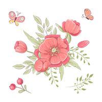 Set av röda vildblommor och fjärilar. Handritning. Vektor illustration