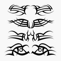 Muster des Stammes- Tätowierungssatzes. Konzept in der Gotik mit Flügel und Fliege