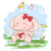 Niedliche kleine Elefantblumen und -schmetterlinge der Postkarte. Cartoon-Stil