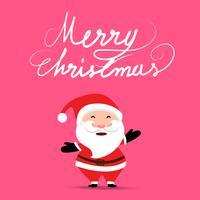 Jul bakgrund med Santa Claus håller presentväska på mjuk pastell rosa färg bakgrund
