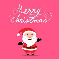 Weihnachtshintergrund mit Santa Claus, die Geschenkbeutel auf weichem Pastellrosafarbhintergrund anhält