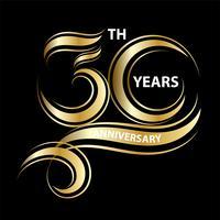 gyllene 30 års jubileumsskylt och logotyp för guldfesten symbol