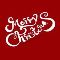 Mery jultext på röd bakgrund