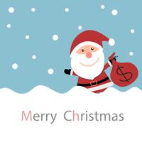 Julkort med jultomte med snö och håller pengarna väska vektor
